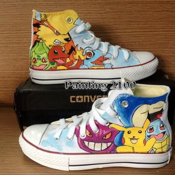 Pokemon Converse Shoes-Pikachu Hand Paint Converse Sneakers, Custom Converse,Special C