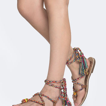 Lace Up Rainbow Sandal