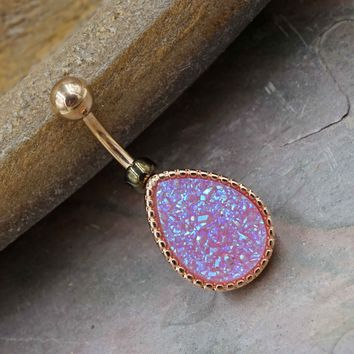 Light Purple Druzy Rose Gold Belly Button Ring - Short Belly Button Jewellery