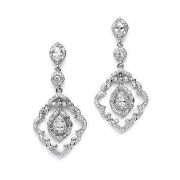 Art Deco Bridal Earrings with Vintage Pave CZ Dangles