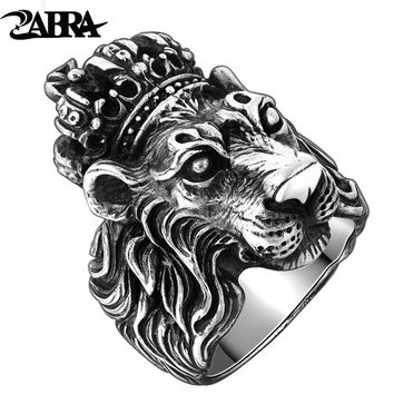 Authentic  925 Sterling Silver Crown Lion King Ring for Men