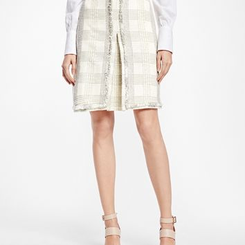 Textured Dobby Cotton-Blend Plaid Skirt - Brooks Brothers