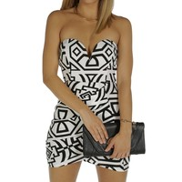 Sale-white Geometric Wrap Dress