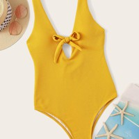Knot Front Plunge Neck One Piece Swimwear