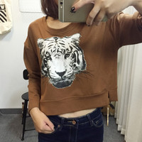 Tiger Head Printed Long Sleeves Pullover Sweater