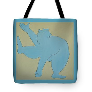 "Sumo Wrestler In Blue Tote Bag for Sale by Ben Gertsberg (18"" x 18"")"