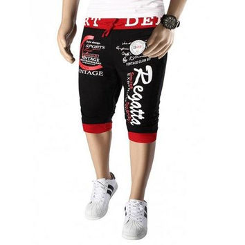 Color Splicing Letters Pattern Beam Feet Lace-Up Capri Pants For Men