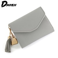 DANHEN  Brand Lady Short Women Wallets Mini Money Purses Small Fold PU Leather Female Coin Purse Card Holder
