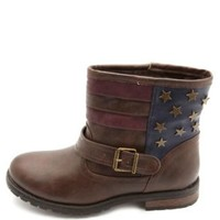 Bamboo Star-Studded Americana Ankle Boots by Charlotte Russe - Brown