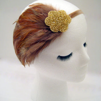 The Lucille - gold 1920s feather fascinator, flapper headpiece, feather headdress, Downton Abbey party, 1920s costume, gold art deco
