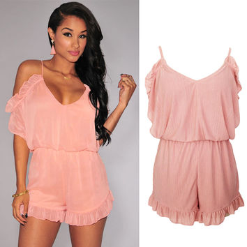 Pink Ruffle Off Shoulder Romper