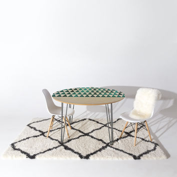 Georgiana Paraschiv Teal Triangles Round Table