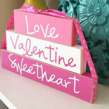Valentine's Day Stackers- Valentine's Day Decor, Love Decor, Valentine's Wood Decor, Wood Stacker Blocks