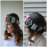 Head Wrap, Aztec hippie Head Band