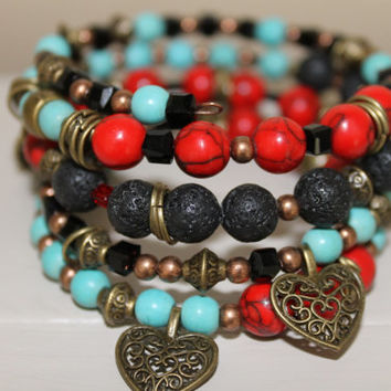 Wrap bracelet Memory Wire, lava stone beads, Red coral beads, glass beads, charms