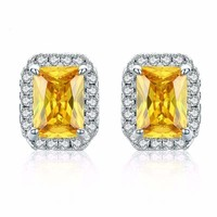 Yellow CZ Crystal Emerald Cut Stud Earrings