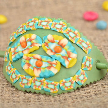 Handmade green polymer clay hair stick unusual hair accessories