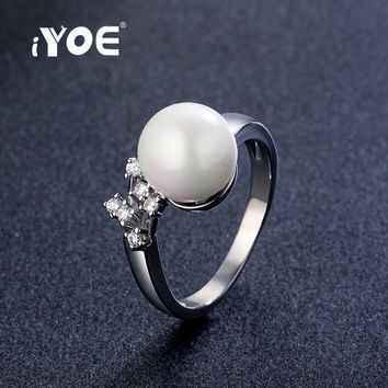 IYOE Simulated Pearl Rings With Synthetic Diamond White Gold Plated Wedding Brand Bridal Rings Fashion Jewelry For Women