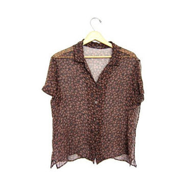 Sheer Floral Blouse Short Sleeve 1990s Button Up Romantic Shirt Brown Printed Hippie Top 90s Bohemian Tshirt Womens Large