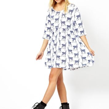 ASOS Smock Dress With Baby Deer Print