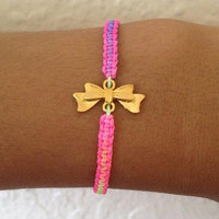 Neon Bow Charm Friendship Bracelet