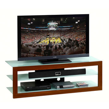 """Techini Mobili Tempered Glass TV Stand for TV's Up To 65"""". Frosted & Mahogany"""