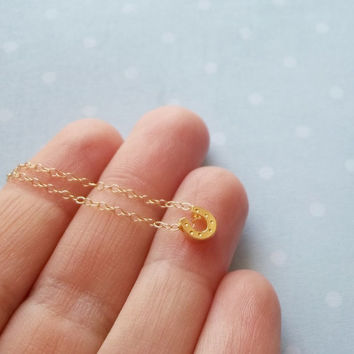 Dainty gold necklace, Horseshoe necklace, dainty, small, petite, tiny, lucky charm necklace, floating, minimalist necklace