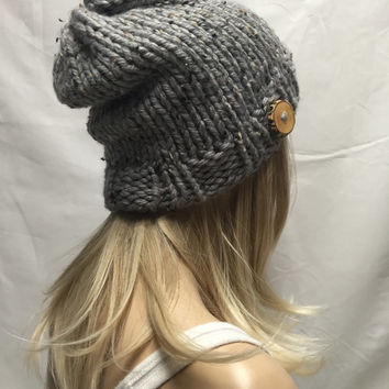 Knit Hat Beanie Vegan Gray Tweed With Wood Button Warm And Cozy