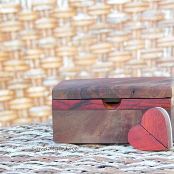 Set Love Note Box Walnut Burl Anniversary Gift With Twisting Heart