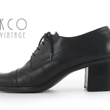 """Lace Up Oxfords 10 Black Leather Block Heel 90's Vintage Apostrohpe Block Heel Shoes / Chunky Minimalist Women's Size US10 UK8/ 10.5"""" Insole"""
