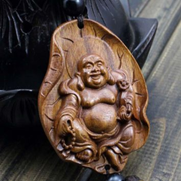 Holiday Gifts Chinese Souvenir Car Pendant Wood Craft Religious Decoration/Crafts Wood Happy Buddha Statue AHJ009