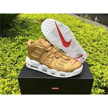 Supreme X Nike Air More Uptempo Big R Scottie Pippen Gold Basketball Shoes