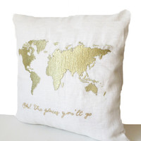 Ivory Linen Decorative Pillow Case -Gold Thread World Map Embroidery -18x18 -Oh The Places You'll Go Pillow -Baby Shower Gift -Nursery Decor