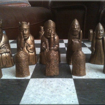 Isle of Lewis Chess Set - Antique Bronze and Aged Pewter Effect - 100% Hand Crafted