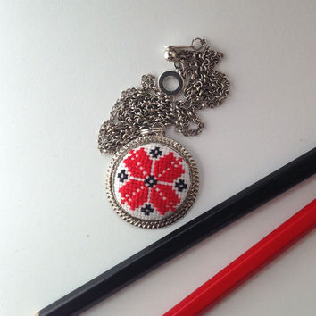 Ukrainian cross stitch JEWELRY STORE. Red and black geometric embroidery necklace. Shiny metal frame pendant. Free shipping worldwide! P7.