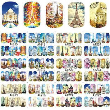 12 Designs Nail Sticker Italy Styles Retro Towel Building for Full Cover Wraps Nail Charm Decorations Water Tips A1213-1224