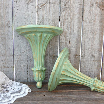 Shelf Set, Shabby Chic, Sage Green, Gold, Upcycled, Wall Decor, Shelves, Hand Painted