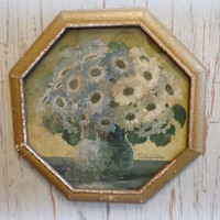 antique floral print / ornate gold octagon frame