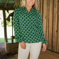 Limitless Horizons Top, Green-Navy
