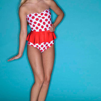 New Minnie Mouse Peplum swimsuit xs-XL made to order