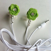 Lime Green Neon Felt Rose Flower Earbuds with by HoneyBadgerBuds
