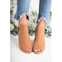 Eyes On You Peep Toe Booties (Cognac)