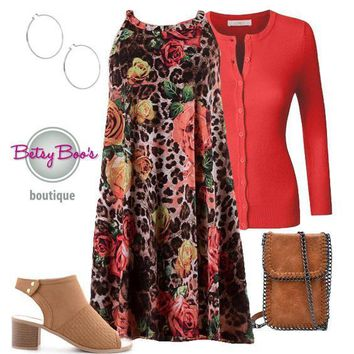(pre-order) Set 468: Coral Floral Animal Print Dress (bag and shoes sold separately)