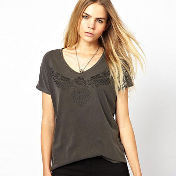 Gray  Wings Printed Short Sleeves Tee