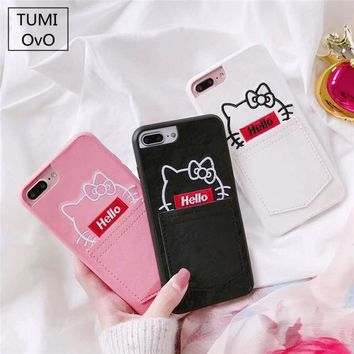 Cute Lace Hello Kitty Cat Pink With Card Pocket Case For iPhone 7 8 Case For iPhone 6 6s Plus 7 8 Plus Back Phone Cover Soft PU