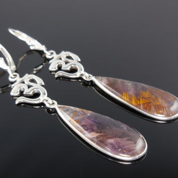 """Cacoxenite Mineral """"Ohm"""" Sterling Silver Earrings"""