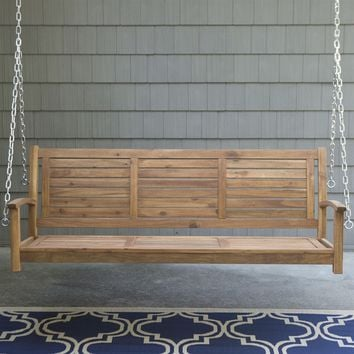 Outdoor 5-Ft Slatted Porch Swing in Natural Acacia Wood with Hanging Chain