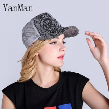 DKF4S YanMan 2017 Women Baseball Cap Fashion Shining Powder Girl Women Mesh Summer Hat Nets Ventilated Snapback Caps Mesh Sun hats
