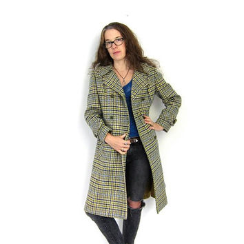 Pea Coat 60s Mod WOOL Pendleton Trench Peacoat Plaid Jacket Double Breasted Green Blue 60s Winter Coat Boho Collared Louanne's Vintage
