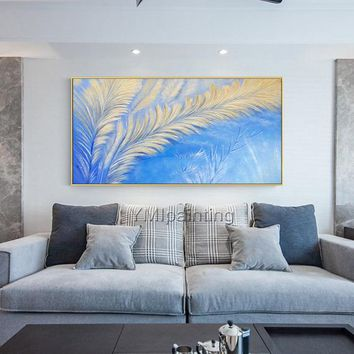 Abstract art blue painting Original Acrylic gold art feather painting Wall Art on canvas wall Picture for living room Decor caudro abstracto